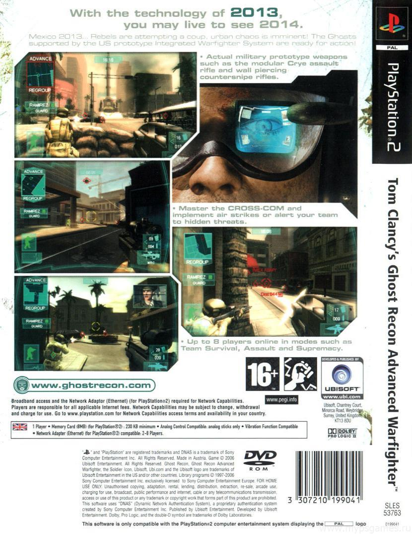 Скан обложки Tom Clancy's Ghost Recon Advanced Warfighter (оборотная)